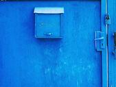 Blue steel post box — Foto Stock