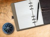 Brown Leather cover note book and Compass — Stock Photo