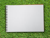Note book on green grass — Stok fotoğraf