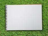 Yeşil çimenlerin üzerinde not defteri — Stok fotoğraf