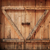 Old wooden doors closed — Stock Photo