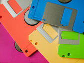 Five color of old floppy disk — Stock Photo