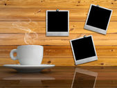 White cup of hot coffee on reflect table — Stok fotoğraf