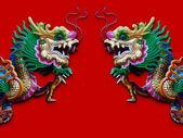 Standart çince ejderha heykel izole kırmızı — Stok fotoğraf