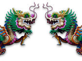 Twin Chinese Dragon statue on white — Stockfoto