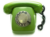 Green old-fashioned telephone — Stock Photo