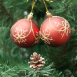 Cone and two red balls on Christmas-tree — Stock Photo
