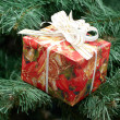 Gift in fancy box  on Christmas-tree branches — Stock Photo