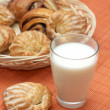 Stock Photo: Glass with fresh milk and puff pastry on bamboo place mat