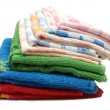 Pile of coloured bath towels — Stock Photo