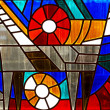 Fragment of stained-glass window — Stock Photo