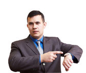 Businessman dissatisfied with delay — Stock Photo