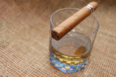 Cuban cigar on glass with wiskey — Stock Photo