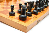 Vintage chessmen on chess board. Before the battle. — Stock Photo