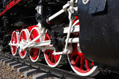 Wheels of vintage steam locomotive — Stockfoto