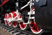 Wheels of vintage steam locomotive — Stock Photo