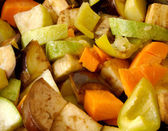 Stewed vegetables: potatos, carrots, aubergines, vegetable marro — Stock Photo