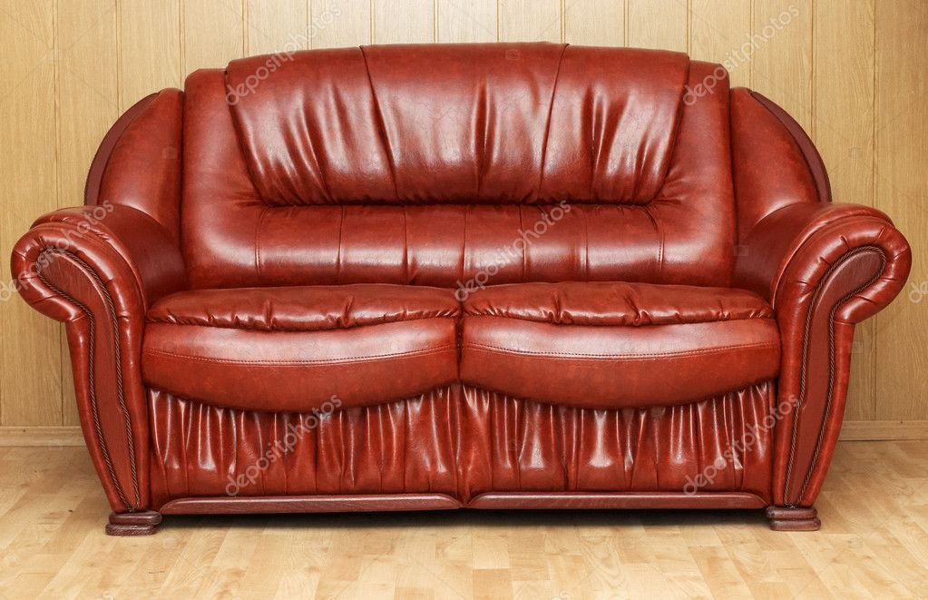 New leather divan in lobby — Stock Photo #4572653