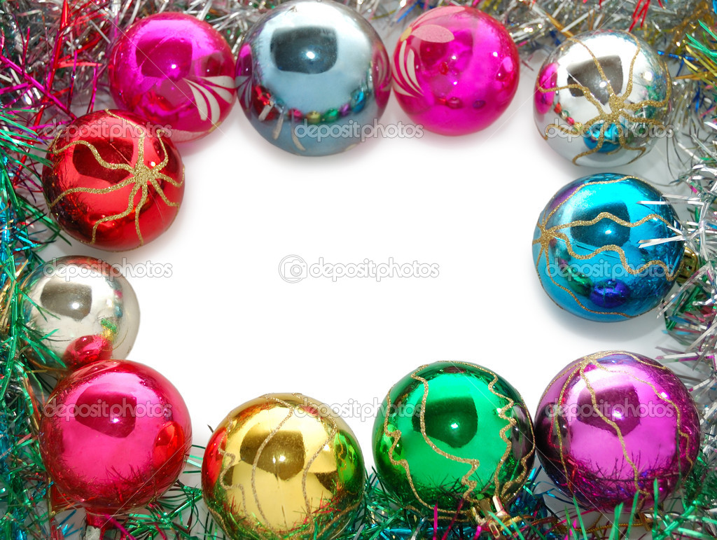 Frame from xmas tree decorations — Stock Photo #4572976