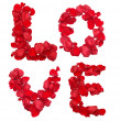Red rose petals set in word LOVE — Stock Photo