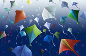 Kites on blue background — Stock Photo