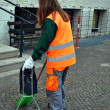 Stock Photo: Cleaning sidewalk