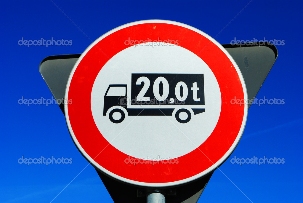 Traffic signal, transit ban trucks weighing over 20 tons  Stock Photo #4501249