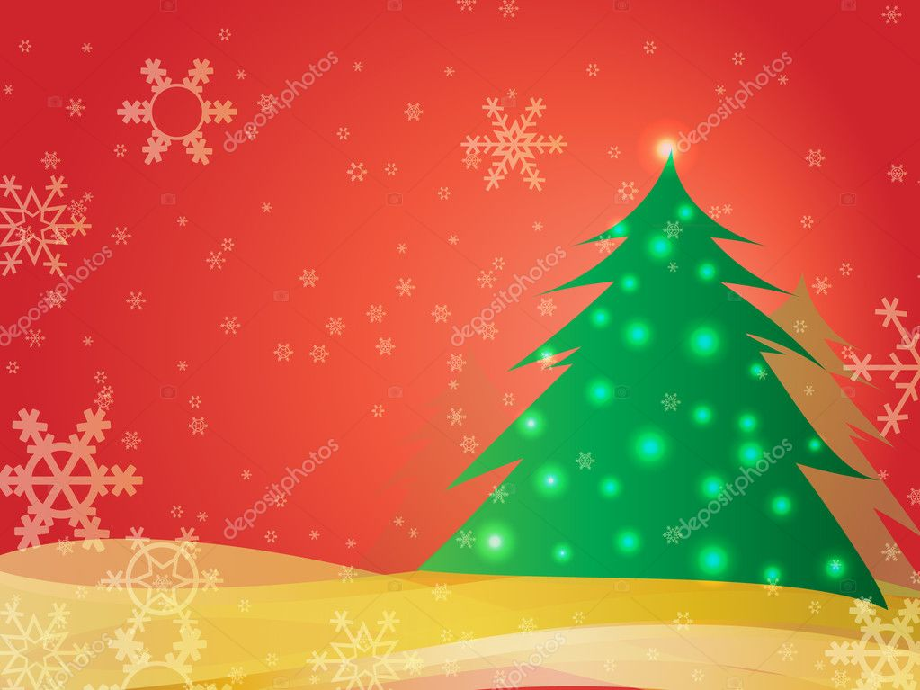 Christmas card with a tree in the background snow  Stock Vector #4262040