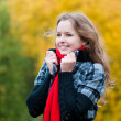 Very beautiful young girl in park — Stock Photo
