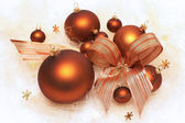 Christmas decorations, brown baubles — ストック写真