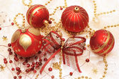 Christmas decorations, red baubles — Stock Photo