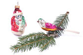 Christmas Tree Bauble from the 60s - bird and Santa Claus — Foto de Stock