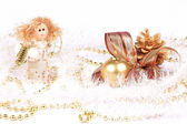 Christmas decorations, angel and candle — Stock Photo