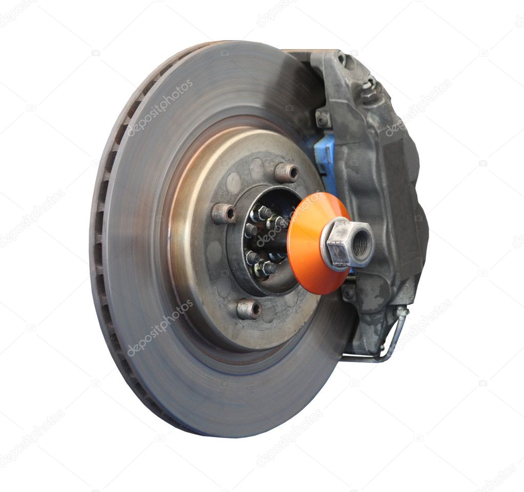 A Brake Disc and Calliper from a Racing Car.  Stock Photo #4492072