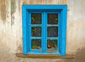 Very old blue window — Stock Photo