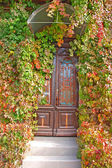 Front door in the old house — Stock Photo