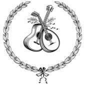 Laurel wreath with instruments — Stock Vector