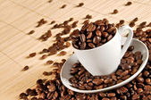 Cup of coffee beans 2 — Stock Photo