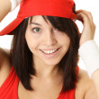 Portrait of a Hip-Hop Dancer wearing Red Cap. — Stock Photo