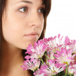 Girl Portrait With Flowers. — Stock Photo