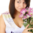 A Pretty Girl Portrait With Flowers — Stock Photo
