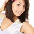 Portrait of a Happy Girl With Flower in the Hair — Stockfoto
