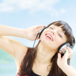 Pretty Girl Listening To Music — Foto Stock