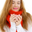 Woman In Red Scarf  With A Cup Of Hot Drink — Stock Photo