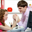 Humor Fighting Of Two Colleagues In Office — Stock Photo