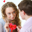 Young Couple Holding Together A Cute Paper Heart — Stock Photo