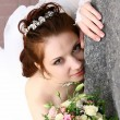 Bride Near Wall — Stock Photo