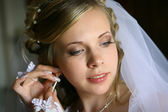 Bride with earring — Stock Photo