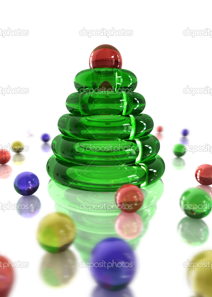 Christmas greeting card with glassy symbolic tree and many glass beads — Stock Photo #4134608