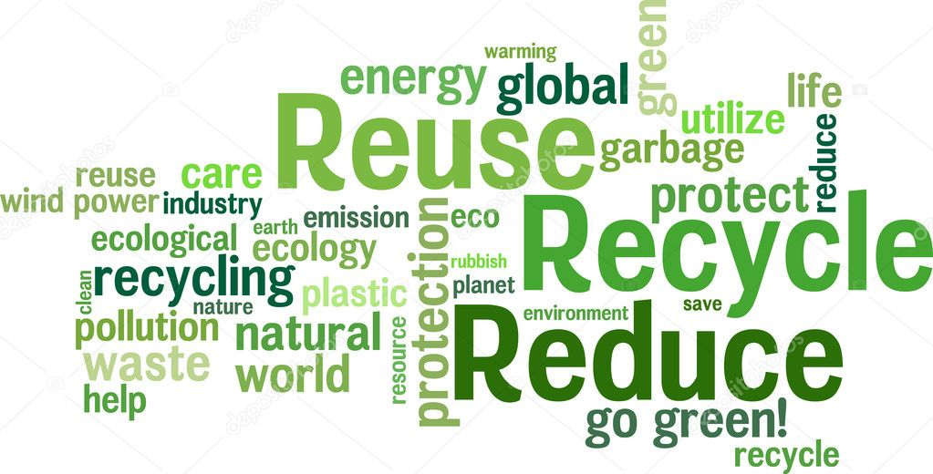 Reuse, Reduce, Recycle. Environmental vector wordcloud background. — Stock Vector #4867368